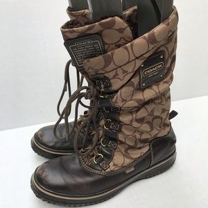 COACH Shaine Boots signature brown winter boots 9